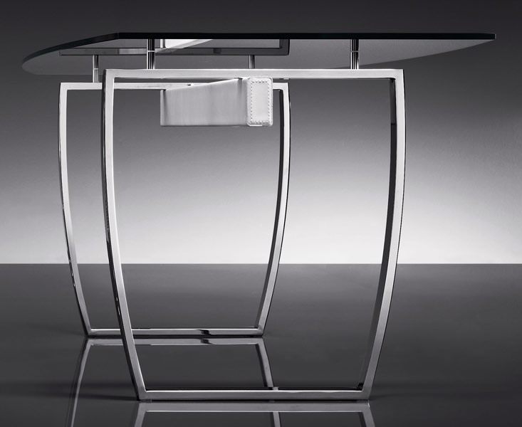 ART. 258/F DIAMOND TABLE, Tables avec base en métal, en verre transparent top