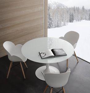 Art. 618 Bramante, Table ronde en verre trempé blanc