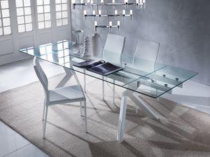 Art. 674 Tokio, Table élégante avec plateau en verre, extensible