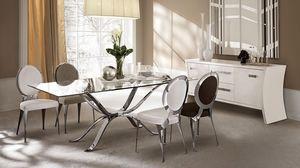Atlante tavolo, Table en fer poli à la main, plateau en verre