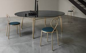 Botany Dining Table, Table à manger avec plateau en verre