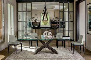 CALLIOPE XXL, Table avec structure en acier peint, plateau en verre ou en céramique