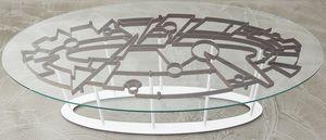 DEDALO, Table avec plateau en verre trempé et structure en acier