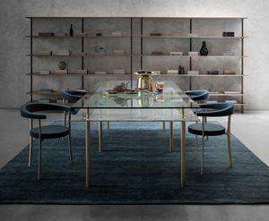 Legs Dining Table, Table en cristal et laiton