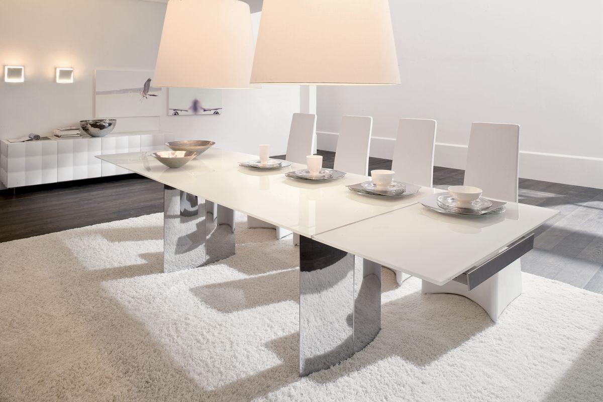 MANHATTAN, Table extensible ou fixe, avec plateau en verre, bois, marbre ou céramique