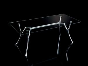 Pegaso 2, Table design en aluminium avec plateau en verre transparent