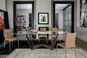 REVERSE, Table avec structure en acier peint, plateau en verre ou en céramique