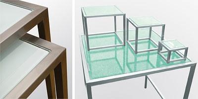 Steel & Style - Buffet, Table en acier inoxydable avec plateau en verre, diverses formes disponibles