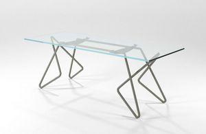 Vittoria, Table rectangulaire en tube chromé avec plateau en verre