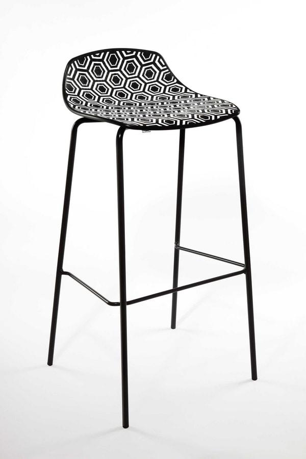 Alhambra Stool 67, Tabouret de bar en tube d'acier peint, siège polymère