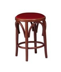 V08, Faible tabouret en bois de hêtre, assise rembourrée, style viennois