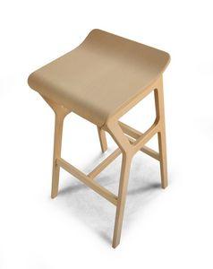 ART. 0011-H67 STOOL NHINO, Tabouret en bois de hêtre avec un design asymétrique