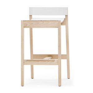 Maki 03784 - 03785, Tabouret en bois avec repose-pieds en acier inoxydable