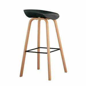 Tabouret haut pour bar et cuisine avec effet bois TOWERWOOD - SGA696LE, Tabouret avec pieds en bois avec repose-pieds