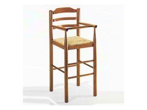 200, Tabouret en bois massif, assise paille, style rustique