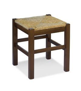H/307 P Tabouret Anita, Tabouret rustique en pin massif avec assise en paille