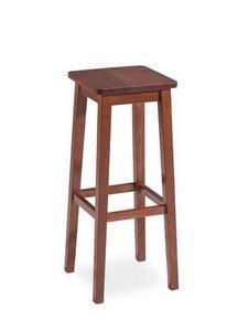 Mery, Tabouret rustique, entièrement en bois, assise carrée