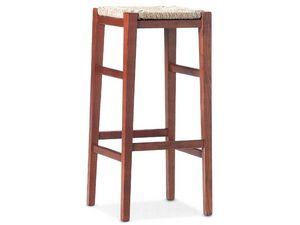 SG. JOLLY, Tabouret en bois avec assise en paille