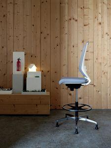 Logica White Stool 01, Tabouret blanc pour bureaux élégants