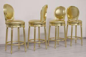 Rotondo pivotant, Tabouret avec siège pivotant, finition dorée