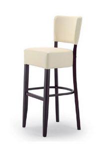 303, Tabouret en bois avec assise et dossier tapissés