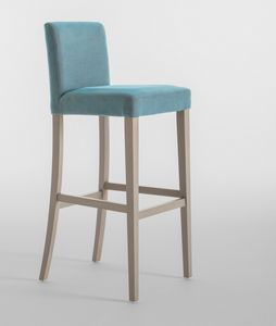 C03SG, Tabouret avec cadre en bois, assise et dossier rembourrés, pour les restaurants et les hôtels