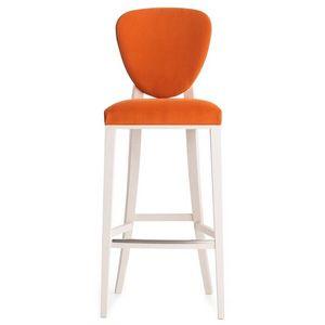 Cammeo 02681 - 02691, Tabouret en bois massif, assise et dossier rembourrés, revêtement en tissu, style moderne