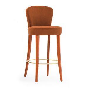 Euforia 00181, Tabouret de bar en bois massif, assise et dossier rembourrés, recouverts de tissu, style moderne