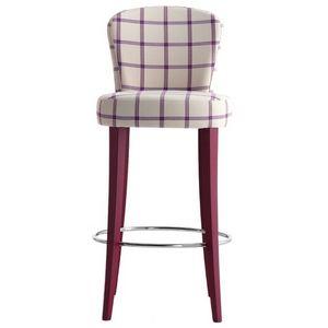 Euforia 00191, Tabouret de bar en bois massif, assise et dossier rembourrés, recouverts de tissu, style moderne