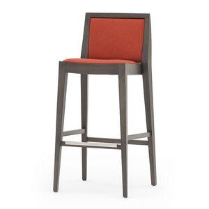 Flame 02181, Tabouret de bar en bois massif, assise et dossier rembourrés, revêtement en tissu, repose-pieds en acier, pour l'usage de contrat