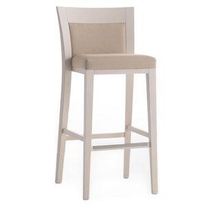 Logica 00982, Tabouret de bar en bois massif, assise et dossier rembourrés, revêtement en tissu, avec plinthe en acier inoxydable, pour les environnements de contrat et domestiques