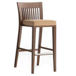 Logica 00984 - 00994, Tabouret de bar en bois massif, assise rembourrée, housse en tissu, avec plinthe en acier inoxydable, pour le contrat et l'usage domestique