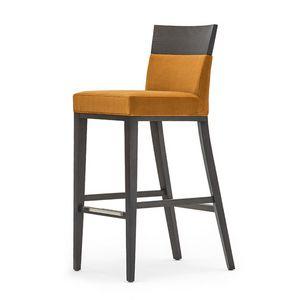 Logica 00988, Tabouret de bar en bois massif, assise et dossier rembourrés, revêtement en tissu, avec plinthe en acier inoxydable, pour le contrat et l'usage domestique