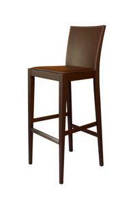 M17 SG, Tabouret de bar en bois de hêtre, assise recouverte de cuir
