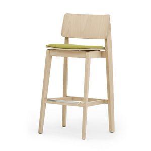 Offset 02882, Tabouret en bois massif, siège rembourré, style moderne
