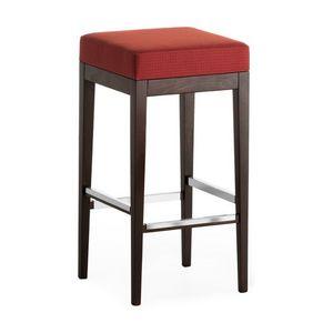 Pouf 01384, Tabouret carré en bois massif, siège rembourré, revêtement en tissu, pour l'usage de contrat
