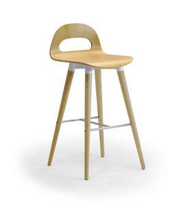Samba Wood stool 4G, Tabouret avec des jambes en bois et coquille