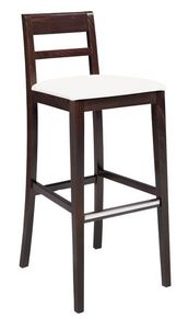SG 490 / EI, Peint tabouret en bois, siège recouvert de cuir