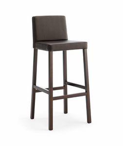 Relax SG, Tabouret en bois avec assise et dossier rembourr�s