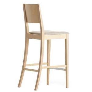 Sintesi 01581, Tabouret de bar en bois massif, siège rembourré, revêtement en tissu, pour les environnements de contrat et domestiques