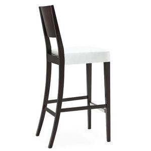Sintesi 01583, Tabouret de bar en bois massif, siège rembourré, revêtement en tissu, avec plinthe en acier inoxydable, de style moderne