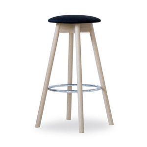 Tabouret haut Tokyo, Tabouret pratique, démontable, faite en bois de hêtre, avec assise ronde rembourrée