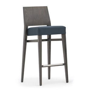 Timberly 01781, Tabouret empilable avec cadre en bois massif, siège rembourré, revêtement en tissu, repose-pieds en acier, pour l'usage de contrat