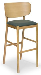 Viky stool, Tabouret en bois avec dossier courbé