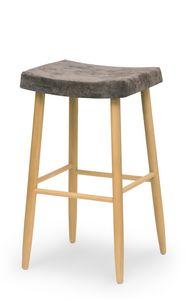 Web stool high, Bartool en bois sans dossier