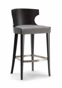 XIE BAR STOOL 052 SG, Tabouret en bois avec assise rembourrée