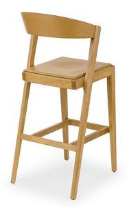 Zanna wood stool, Tabouret en bois pour tavernes et bars