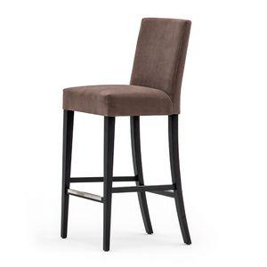 Zenith 01681, Tabouret de bar en bois massif, assise et dossier rembourrés, revêtement en tissu, repose-pieds en acier, pour l'usage de contrat