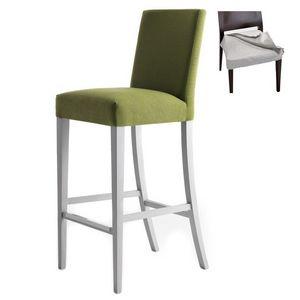 Zenith 01686 - 01696, Tabouret de bar en bois massif, assise et dossier rembourrés, revêtement en tissu amovible, repose-pieds en acier, pour l'usage de contrat