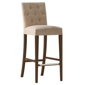 Zenith 01688 - 01698, Tabouret de bar en bois massif, assise et dossier rembourrés, revêtement en tissu, capitonné en arrière, repose-pieds en acier, pour l'usage de contrat